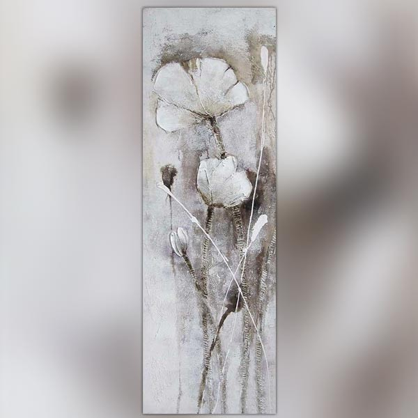 Fleur des champs blanche peinture 50 x 150 cm - Tableau noir et blanc design ...