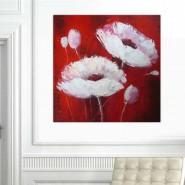 Fleur blanche sur fond rouge