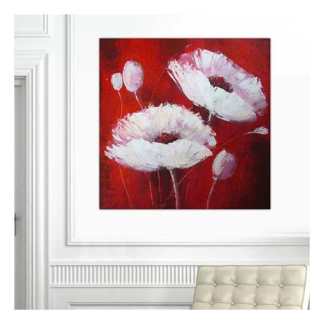 Peinture de fleur carr sur fond rouge - Tableau triptyque fleurs blanches ...