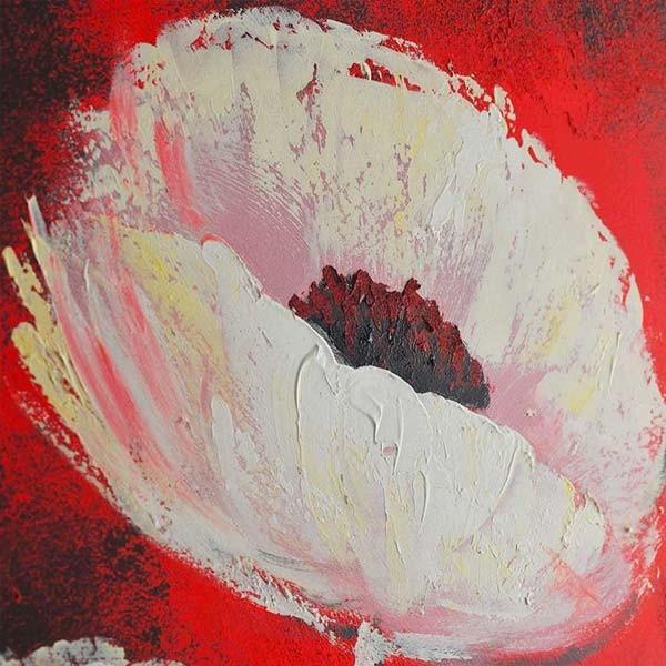 Peinture De Fleur Carr Sur Fond Rouge