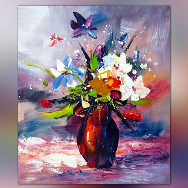 Peinture fleurs des champs tableau couleur chaude for Peinture couleurs chaudes