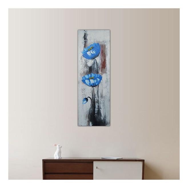 panneau peint en hauteur avec fleurs bleues 30x60cm. Black Bedroom Furniture Sets. Home Design Ideas