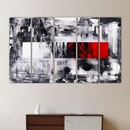 Peinture graphique noir, blanche et rouge