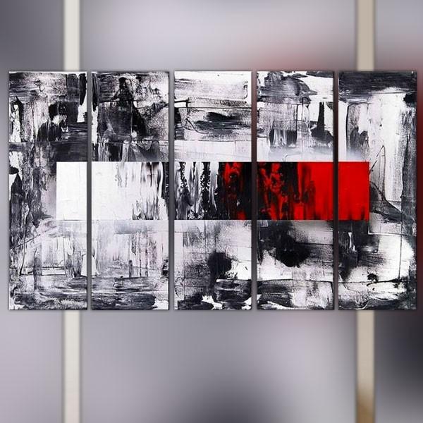 polyptyque graphique 5 panneaux rouge noir et blanc. Black Bedroom Furniture Sets. Home Design Ideas