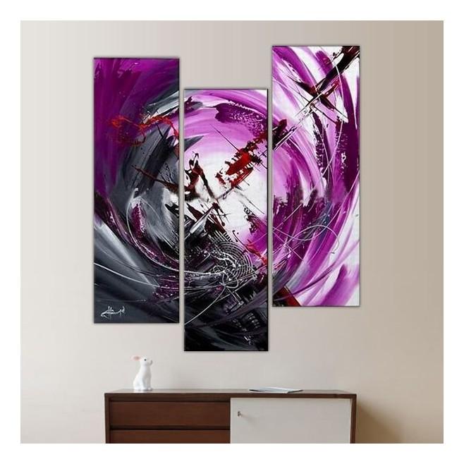 Triptyque mauve avec focale et illustration grise for Peinture gris mauve