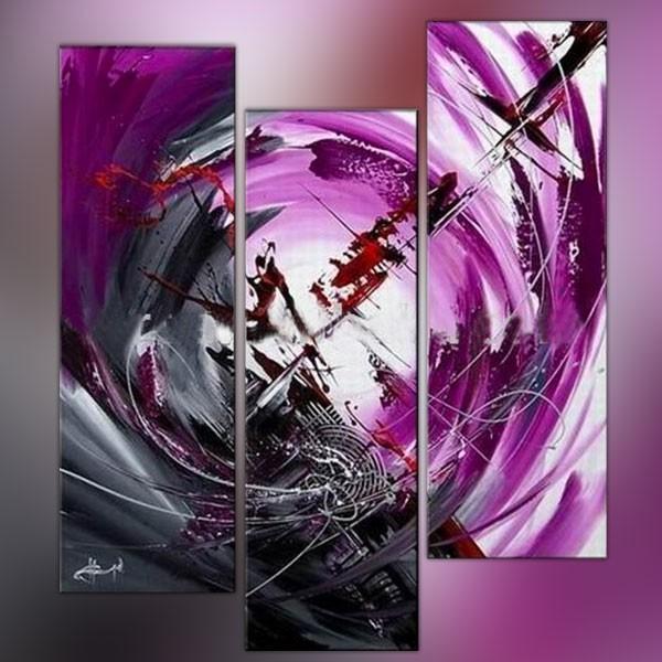 Triptyque mauve avec focale et illustration grise - Tableau couleur prune ...
