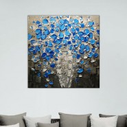 Fleurs bleues en relief