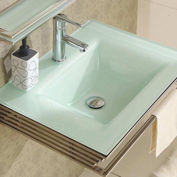Lavabo suspendu en verre blanc infinity for Lavabo en verre salle de bain