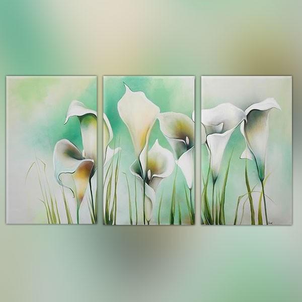Tableau trois panneaux fleurs - Tableau peinture triptyque ...