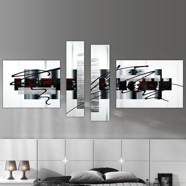 Favori Quadriptyque graphique noir, rouge et blanc JY81