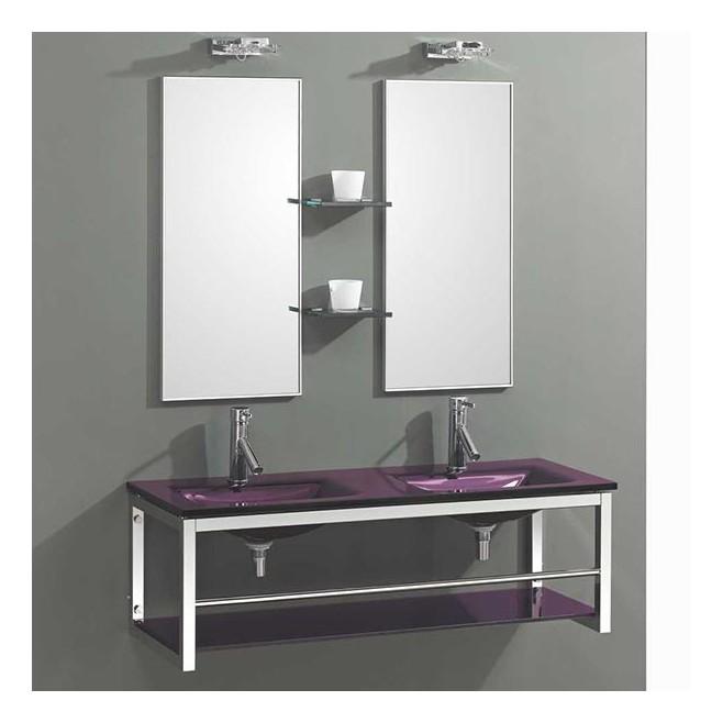 Lavabo double vasque en verre jazz for Lavabo en verre salle de bain