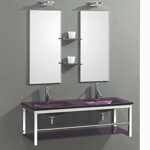 Double vasque en verre heitronic with double vasque en for Lavabo salle de bain en verre