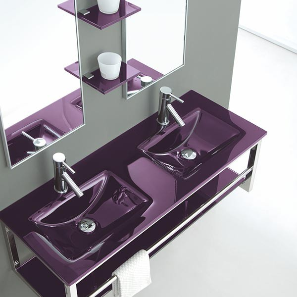 Lavabo double vasque en verre jazz for Meuble lavabo double