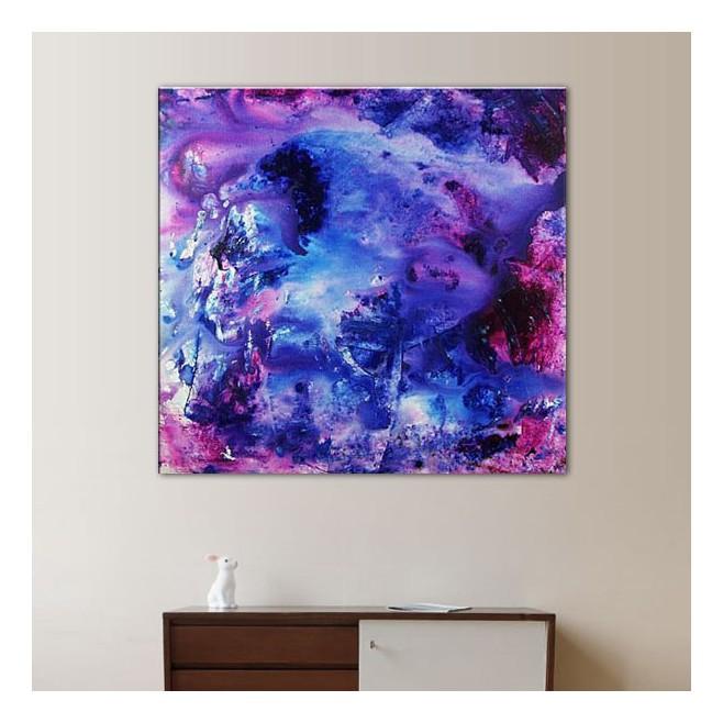 Peinture Gris Et Mauve : Toile mauve et bleue