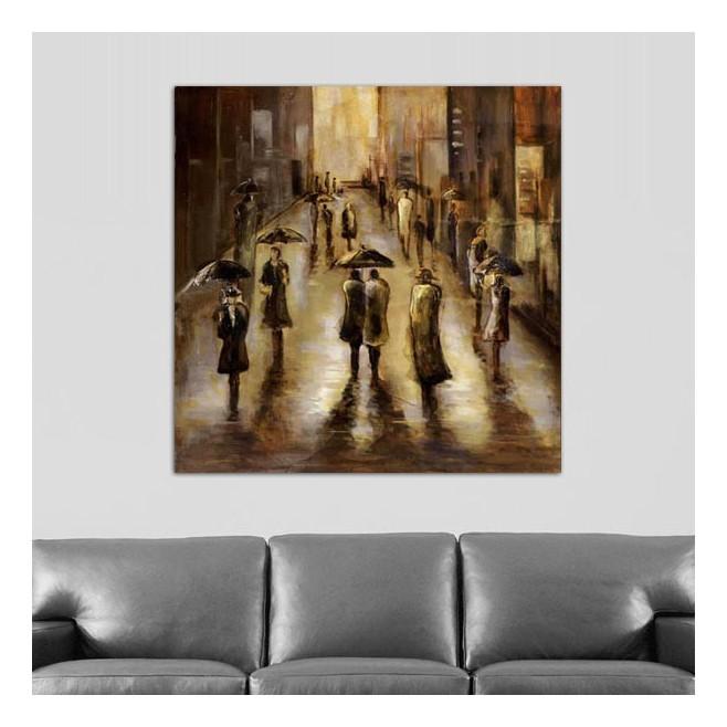 Tableau contemporain ville pluie