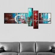 Composition 5 panneaux rouge et bleu clair