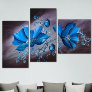 tableau fleur bleu fond noir