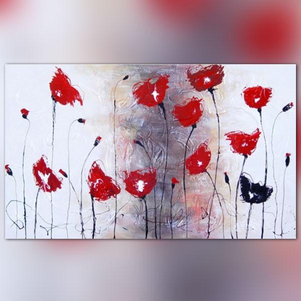 Peinture fleur rouge coquelicot horizontale for Tableau de coquelicot en peinture