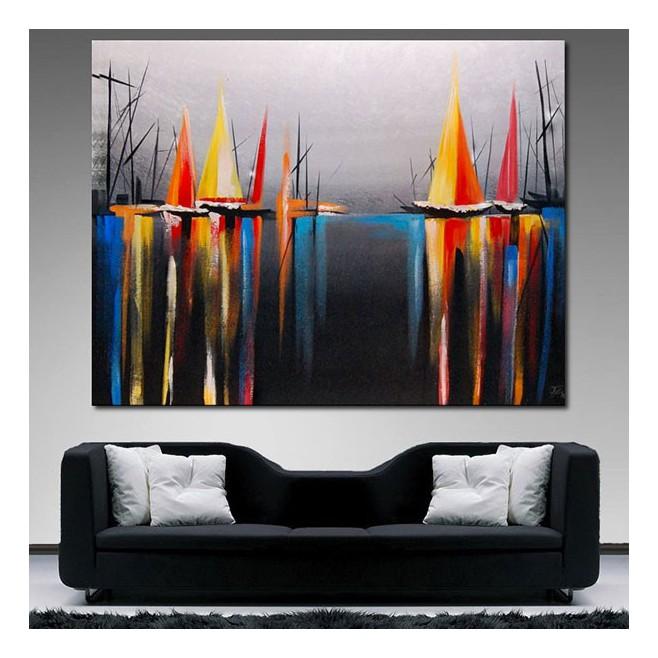 Tableau les voiles du port 60x80 for Peinture tableau noir aimantee