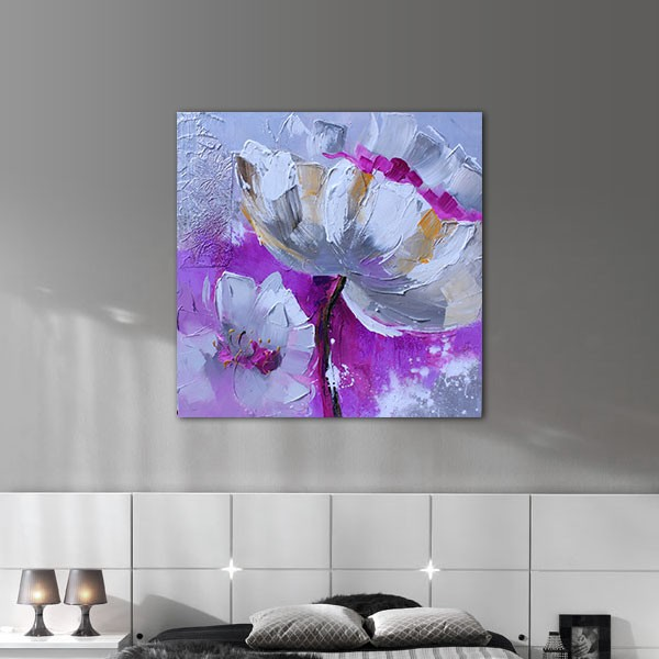Peinture florale mauve et violette 60x60 cm for Peinture gris mauve