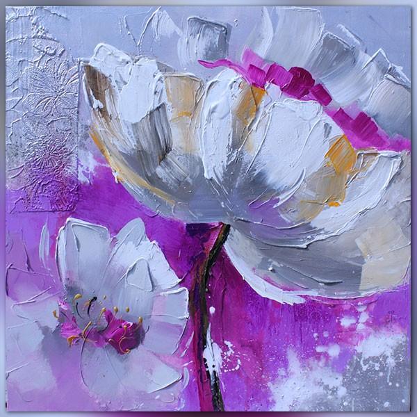 Peinture florale mauve et violette 60x60 cm for Peinture violette
