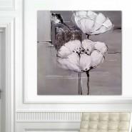 Peinture fleur grise