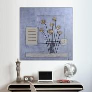 Peinture carré de fleurs dorées
