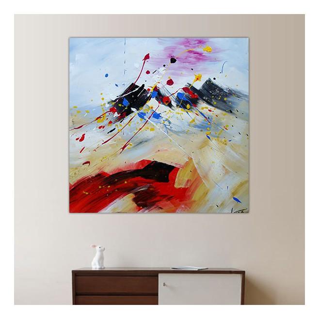 Peinture Carr Montagne Composition Na Ve 60x60cm