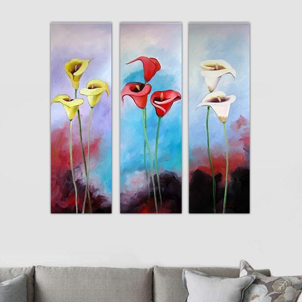 triptyque fleur exotique, 3 panneaux peints