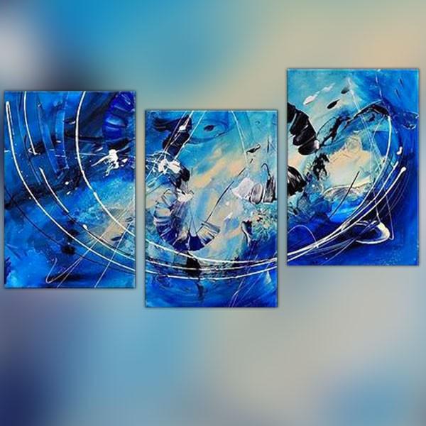 Triptyque tons bleus lignes blanches for Tableau bleu et gris