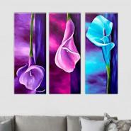 triptyque floral bleu et rose