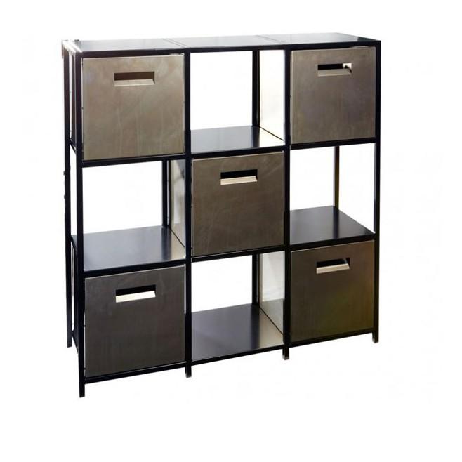 Petit rangement 9 cases en acier 116x36x118 5 cm for Meuble 5 cases