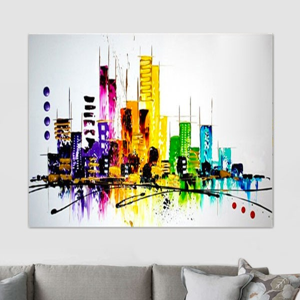 skyline de new york peinture originale new york. Black Bedroom Furniture Sets. Home Design Ideas