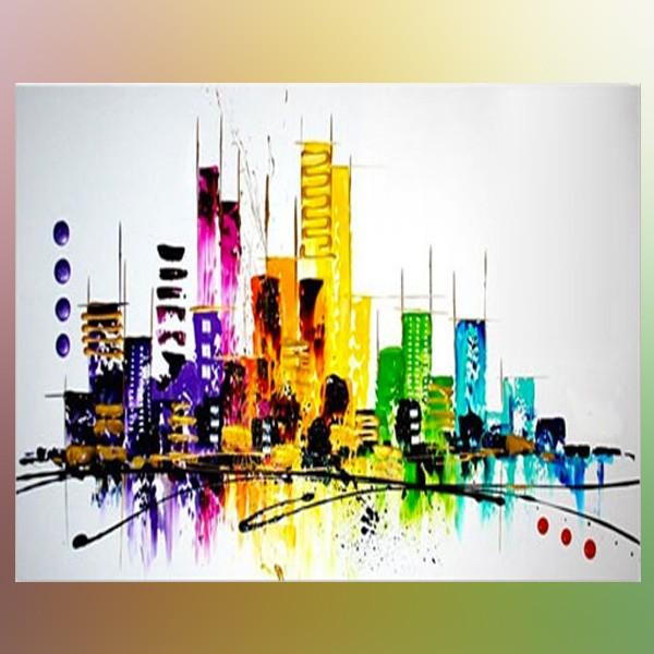 Skyline de new york peinture originale new york - Peinture carre couleur ...