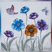tableau de fleur bleu, orange et violet
