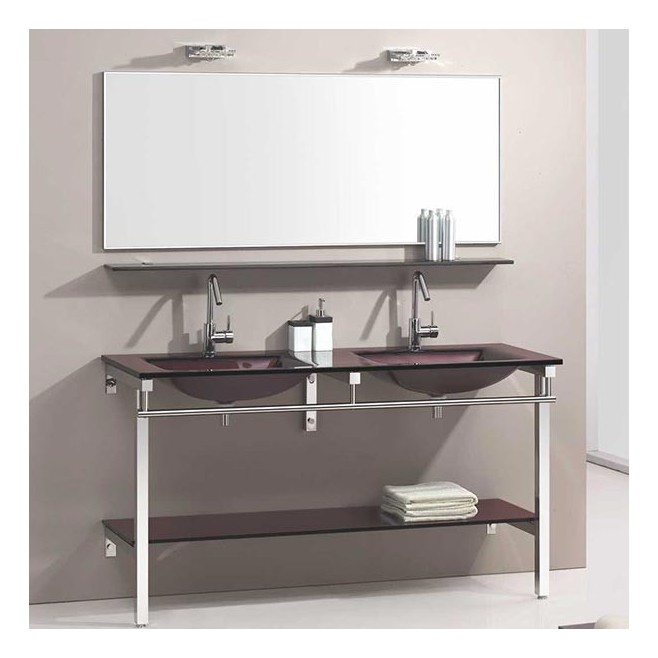 meuble de salle de bain en verre marron aida. Black Bedroom Furniture Sets. Home Design Ideas