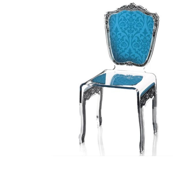 chaise transparente en plexi baroque. Black Bedroom Furniture Sets. Home Design Ideas