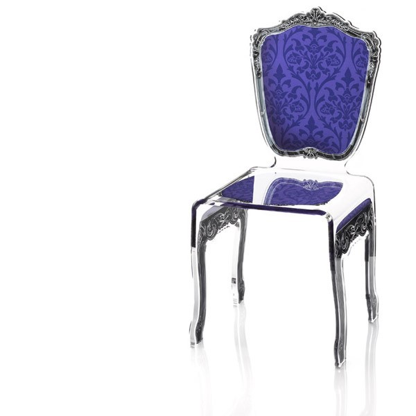 Chaise transparente en plexi baroque - Chaise baroque transparente ...