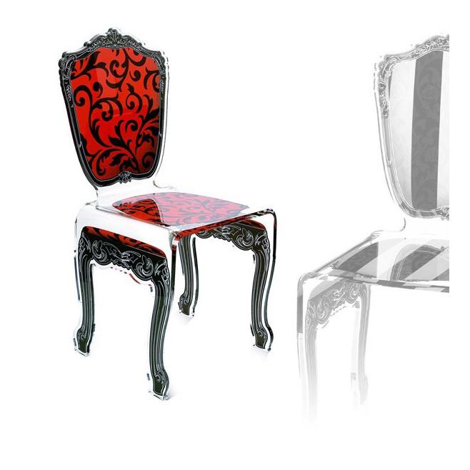 Chaise transparente en plexi baroque - Chaise baroque transparente ...