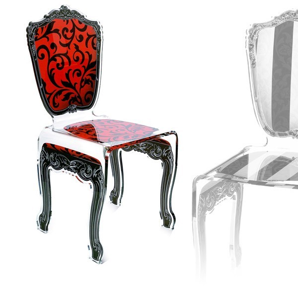 chaise transparente en plexi baroque. Black Bedroom Furniture Sets. Home Design Ideas