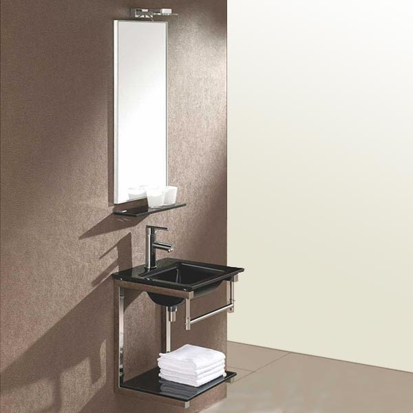Lavabo suspendu verre noir James