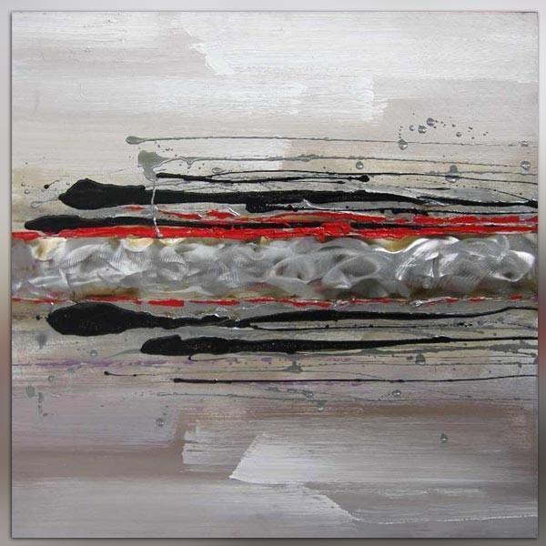 Tableau abstrait rouge 80 x 80 cm for Tableau blanc et rouge