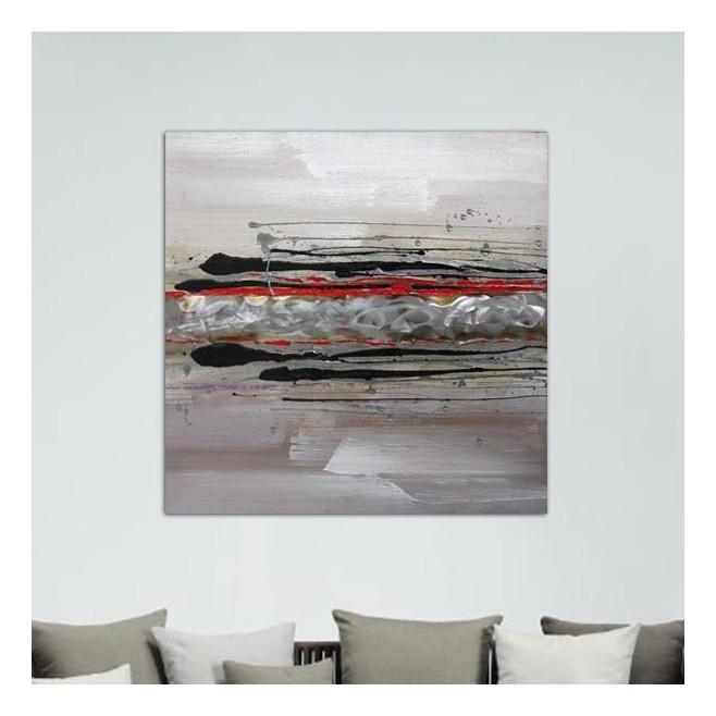 Tableau abstrait rouge 80 x 80 cm - Tableau gris et rouge ...