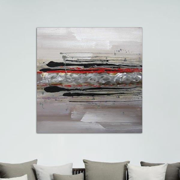 Tableau abstrait rouge 80 x 80 cm - Peinture gris rouge ...