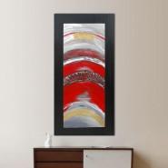 Peinture abstraite rouge et métal