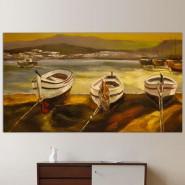 Peinture bateau, chaloupe en bord de mer