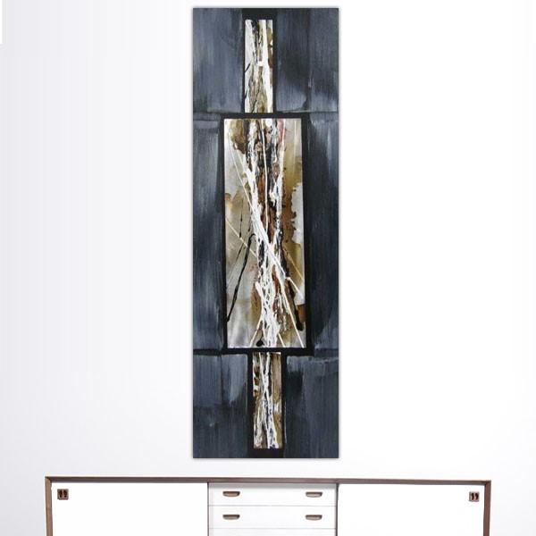Composition abstraite gris souris et m tal 40 x 120cm for Peinture gris souris