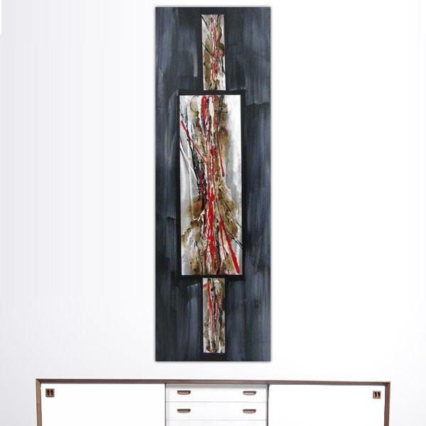 Composition abstraite ardoise et rouge