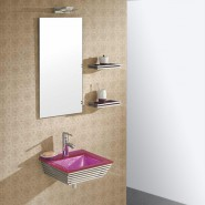 Lavabo suspendu verre rose et chrome Bubble