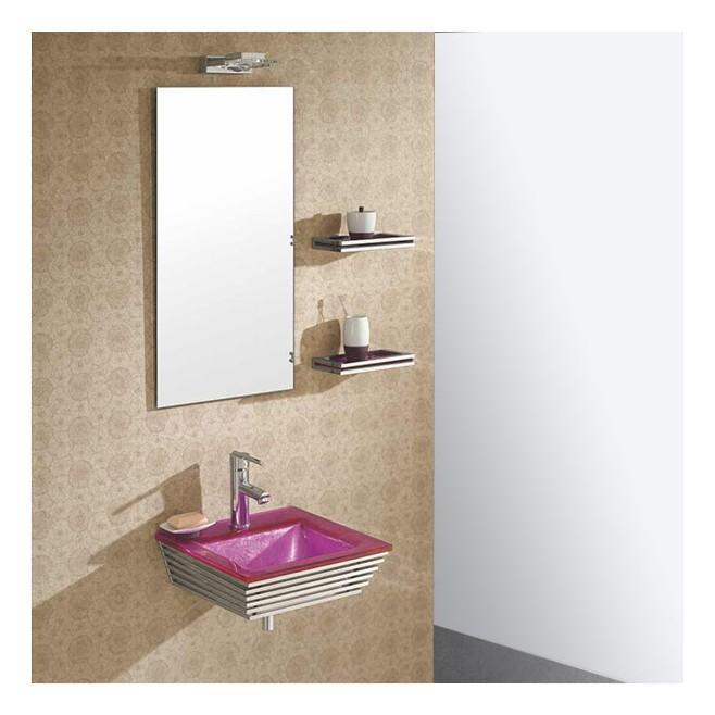 Lavabo verre rose et ensemble de salle de bain bubble for Ensemble lavabo salle de bain